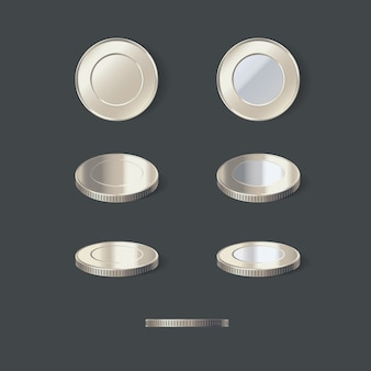 Ilustração do conjunto de moedas de prata