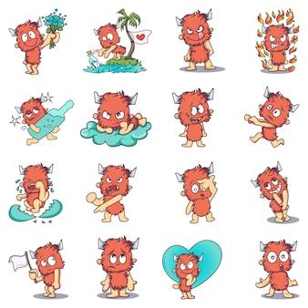 Ilustração do conjunto de monstro de peles dos desenhos animados
