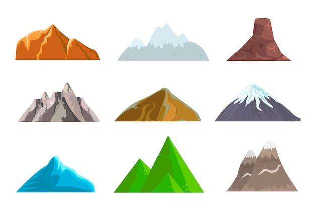 Ilustração do conjunto de montanhas e montanhas dos desenhos animados
