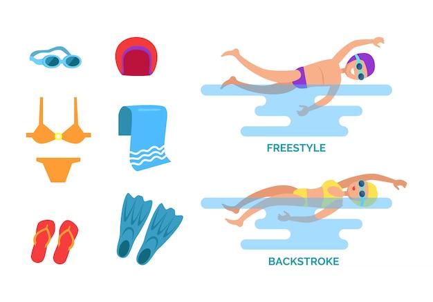 Ilustração do conjunto de nado de costas e freestyle