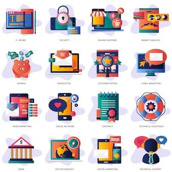 Ilustração do conjunto de negócios e tecnologia Vetor Premium