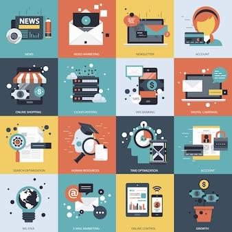 Ilustração do conjunto de negócios e tecnologia