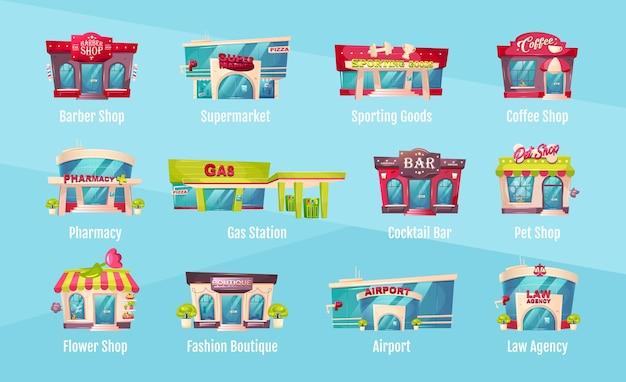 Ilustração do conjunto de objetos coloridos na frente da loja