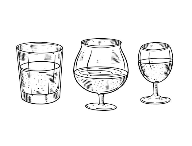 Ilustração do conjunto de óculos com álcool forte