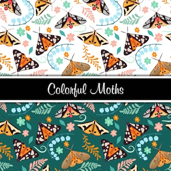 Ilustração do conjunto de padrão sem emenda de mariposas coloridas