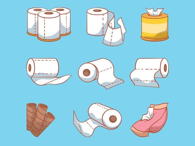 Ilustração do conjunto de papéis higiênicos