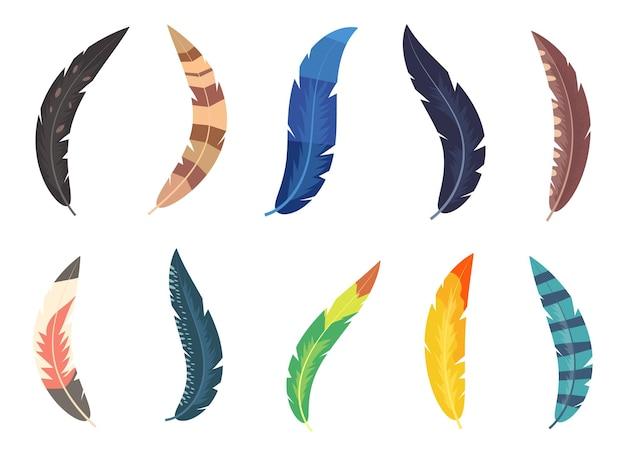 Ilustração do conjunto de penas coloridas isoalted em branco