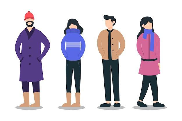 Ilustração do conjunto de personagens de pessoas vestindo roupas de inverno