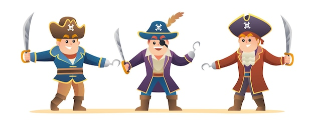 Ilustração do conjunto de personagens de piratas fofos