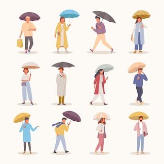 Ilustração do conjunto de pessoas com guarda-chuvas