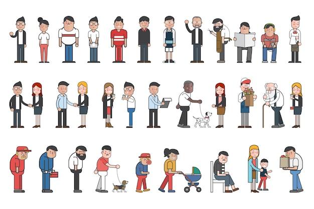 Ilustração do conjunto de pessoas