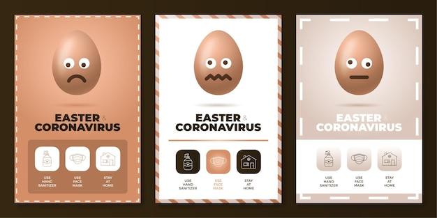 Ilustração do conjunto de pôster de coronavírus da páscoa tudo em um