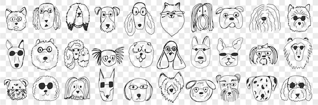 Ilustração do conjunto de rostos de cachorro