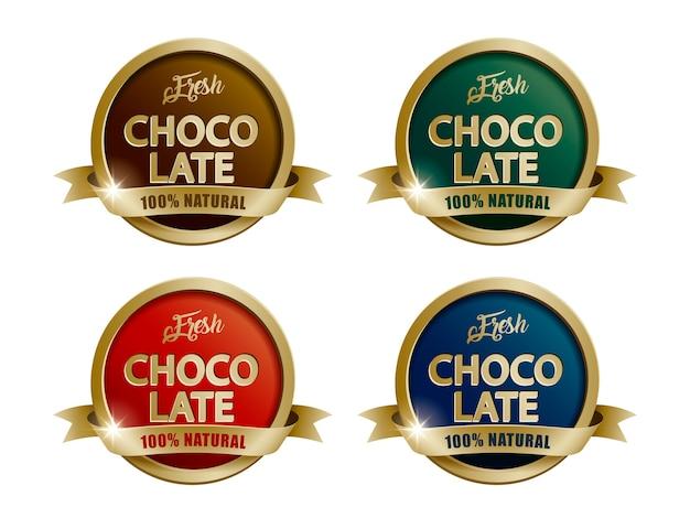 Ilustração do conjunto de rótulos de chocolate fresco