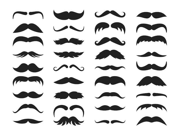 Ilustração do conjunto de silhueta de bigode