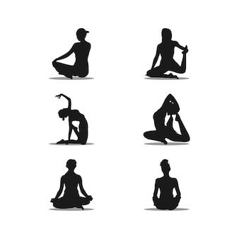 Ilustração do conjunto de silhueta de design de logotipo de ioga