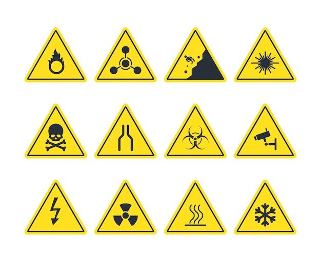 Ilustração do conjunto de sinais de trânsito
