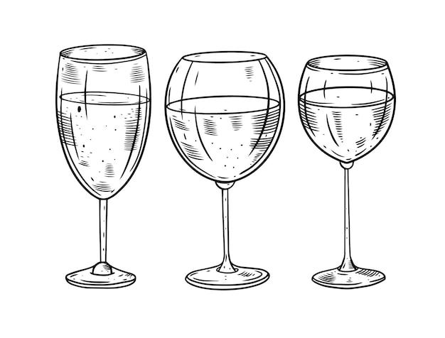 Ilustração do conjunto de taças de vinho desenhadas à mão