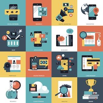 Ilustração do conjunto de tecnologia e gestão empresarial
