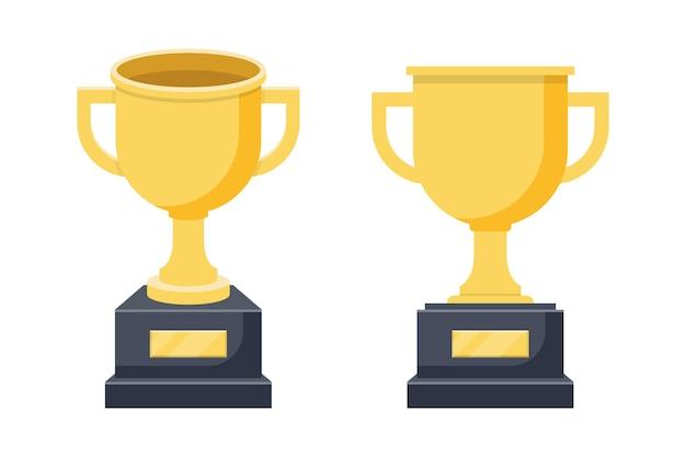 Ilustração do conjunto de troféus de ouro do vencedor