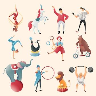 Ilustração do conjunto de truques acrobáticos de animais