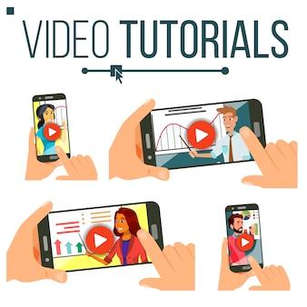 Ilustração do conjunto de tutoriais em vídeo