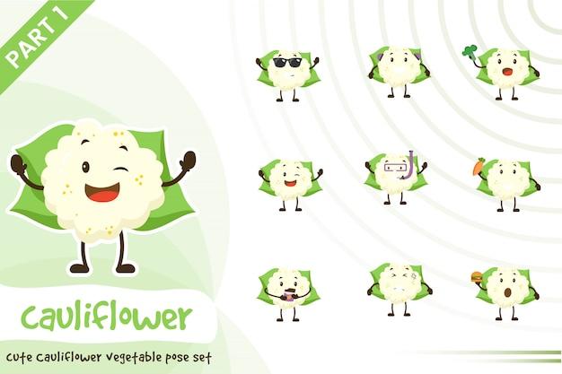 Ilustração do conjunto de vegetais de couve-flor bonito