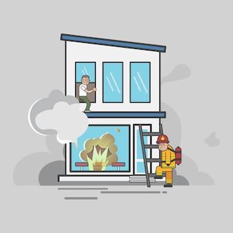 Ilustração do conjunto de vetores de bombeiro