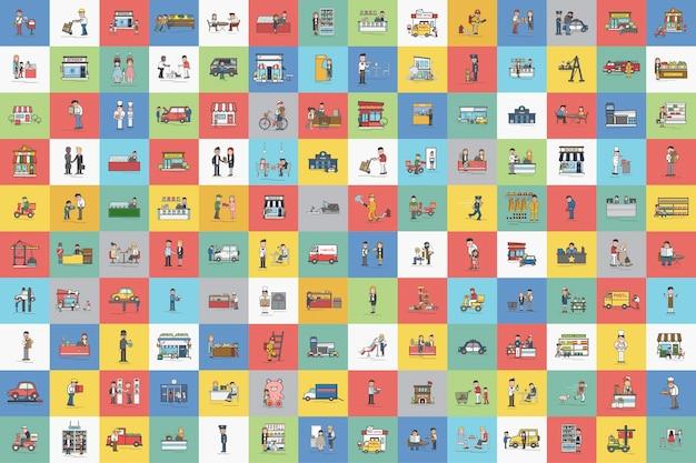 Ilustração do conjunto de vetores de pequenas empresas