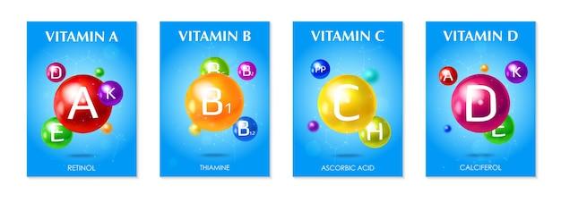 Ilustração do conjunto de vitaminas