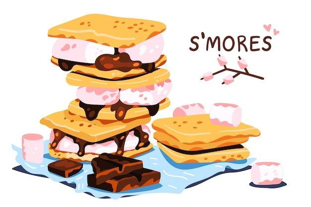 Ilustração do conjunto delicioso s'more desenhada à mão