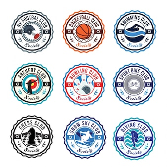 Ilustração do conjunto do emblema do logotipo do clube circular do sport club
