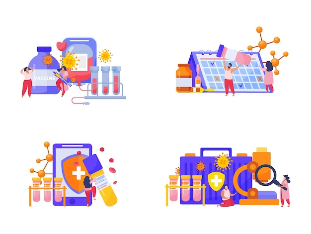 Ilustração do conjunto do processo de vacinação