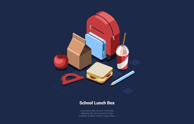 Ilustração do conjunto isométrico de comida lancheira escolar.