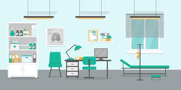 Ilustração do consultório médico. interior da sala de consulta médica.
