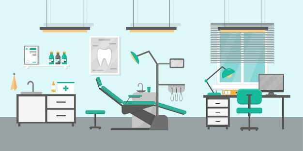 Ilustração do consultório odontológico. interior do consultório ortodôntico.