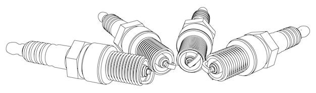 Ilustração do contorno do conjunto de velas de ignição de vetor