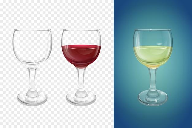 Ilustração do copo de vinho 3d da louça realística para o vinho.