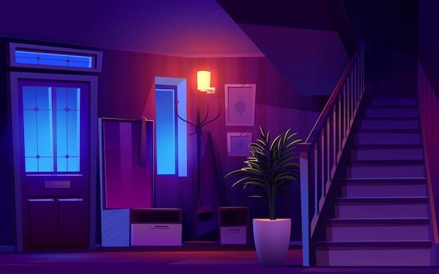 Ilustração do corredor noturno dos desenhos animados