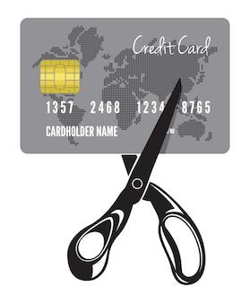 Ilustração do corte de um cartão de crédito