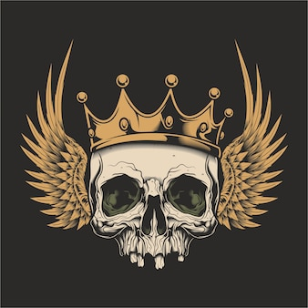 Ilustração do crânio com asas e coroa