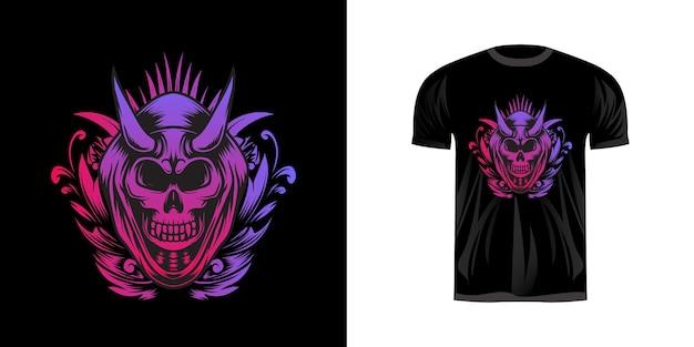 Ilustração do crânio com coloração de néon para o design da camiseta