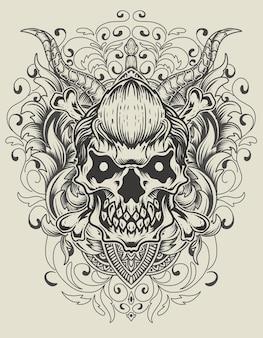 Ilustração do crânio com ornamento de gravura vintage