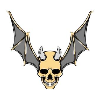 Ilustração do crânio da cabeça do mal com chifres de ferro e asas de morcego douradas