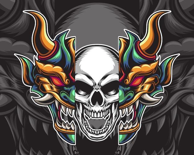 Ilustração do crânio da máscara oni