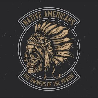 Ilustração do crânio de chefe índio americano com