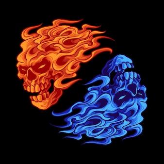 Ilustração do crânio de fogo