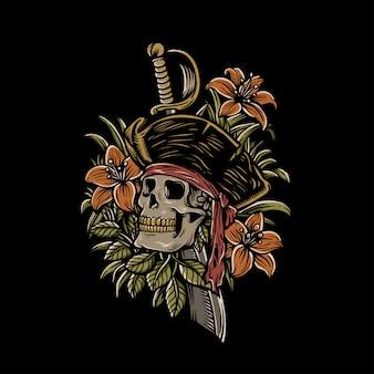Ilustração do crânio de piratas mortos
