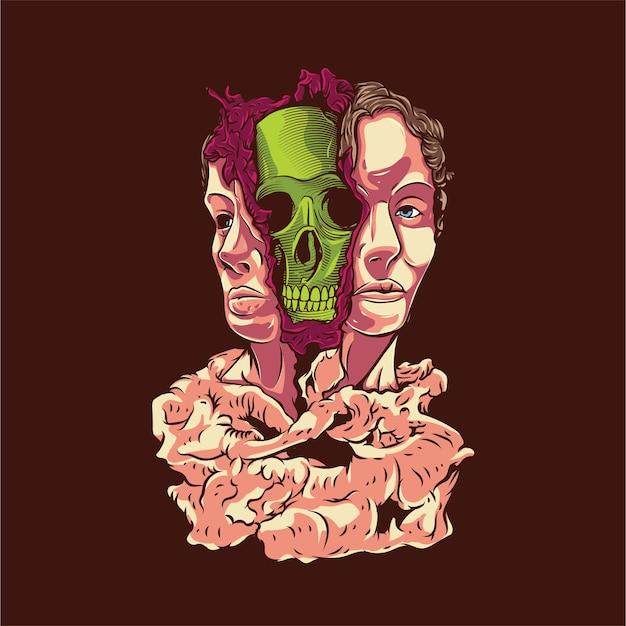 Ilustração do crânio de rosto dividido