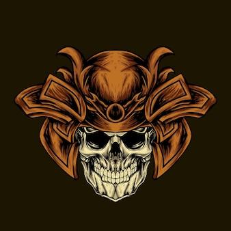 Ilustração do crânio de samurai com armadura de cabeça
